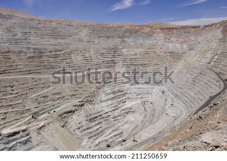 Chuquicamata, world's biggest open pit copper mine, Calama, Chile - stock photo