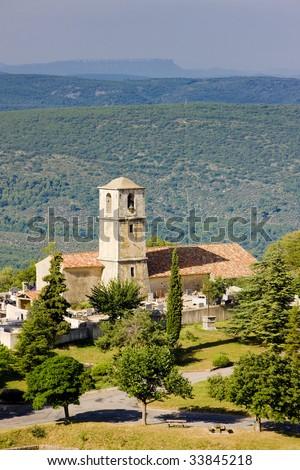 church, Aiguines, Var Departement, Provence, France - stock photo