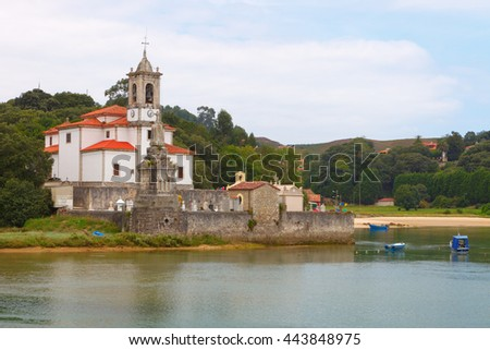 Church and cemetery Niembro in the council of Llanes, Asturias, Spain - stock photo