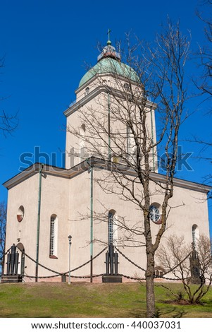 Church and lighthouse at the maritime fortress on Suomenlinna Island. Helsinki, Finland, Europe - stock photo