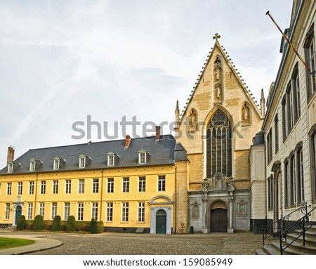 Church and square in Abbey de la Cambre in Brussels, Belgium. This abbey was known from 13 century - stock photo
