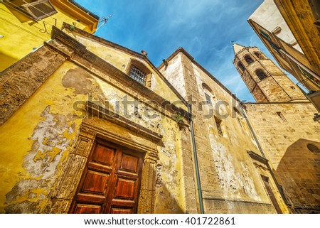 church and steeple in Alghero, Italy