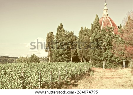 Church and Vineyard in the Chianti Region, Vintage Style Toned Picture - stock photo