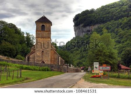 Church at Baume les Messieurs, Burgundy - France - stock photo