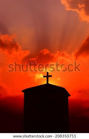 Church at dusk with Christian cross illustration - stock photo