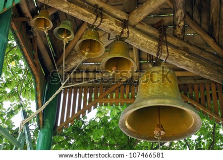 Church bells of the rural temple - stock photo