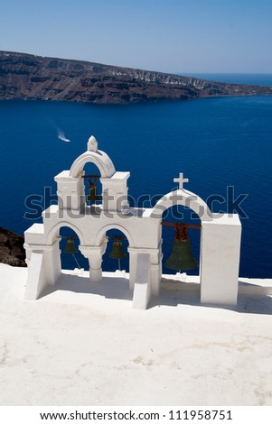 Church bells on Santorini island - stock photo