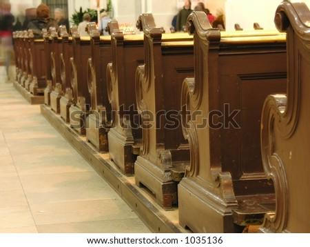church benches - stock photo