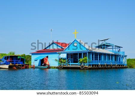 Church boat at Tonle sap, Khmer, Cambodia - stock photo