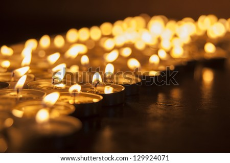 Church candle in a row - stock photo