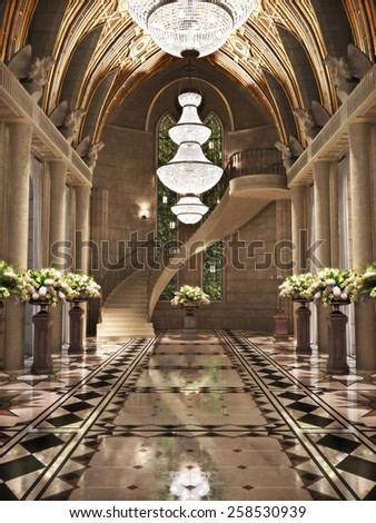 Church Cathedral interior with flower arrangements. Photo realistic 3d scene. - stock photo