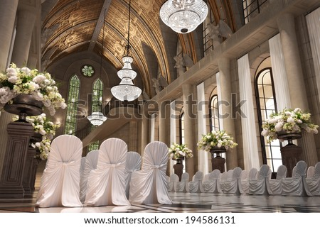 Church Cathedral wedding interior with rows of elegant chairs and flowing flower arrangements.  - stock photo