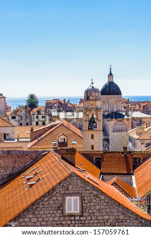 Church chapels and red roof of Dubrovnik (Croatia), city on the Adriatic Sea, UNESCO World Heritage Site since 1979 - stock photo