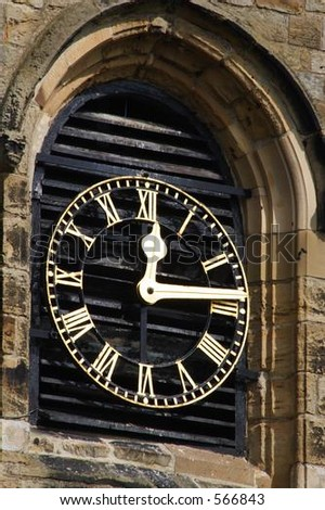 Church clock at St Mary's Whitby uk