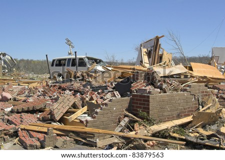 Church destroyed, Cold front bringing tornadoes & straight line winds, Declared State of Emergency A powerful F3 tornado killed 15 people during the night. - stock photo