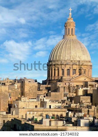 Church domed skyline view in Valletta - stock photo