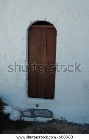 Church door, Skyros, Greece - stock photo