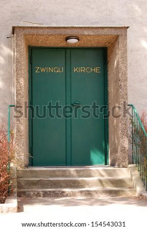 Church door The entrance to a Lutheran church in Vienna.  - stock photo