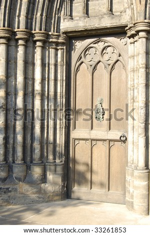 Church doorway and sandstone arch. Glasgow Cathedral, Scotland