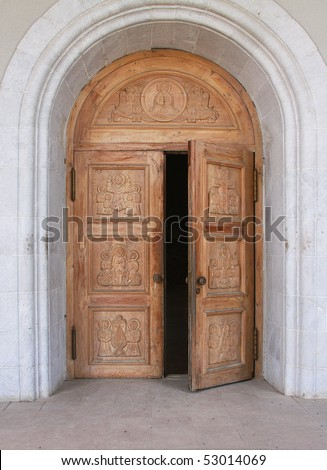Carved door stock images royalty free images vectors shutterstock for Exterior glass doors for churches