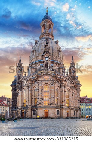 Church Frauenkirche in Dresden Germany - Church of Our Lady - stock photo