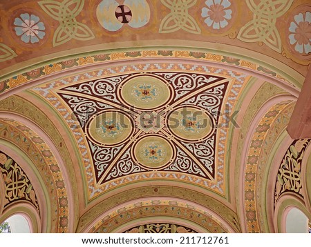 Church frescos on the ceiling arches in orthodox church.  Fresco painting. Mural painting. - stock photo