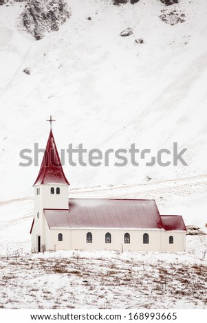 Church from Vik Iceland - stock photo
