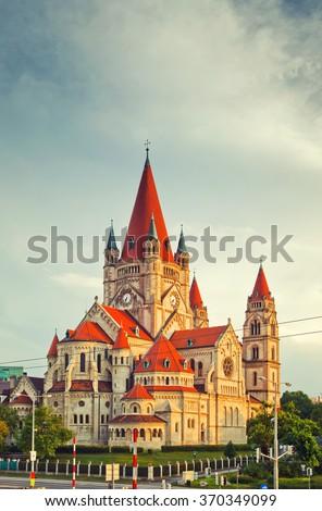 Church Heiliger Franz of Assisi at Mexikoplatz, Vienna, Austria - stock photo