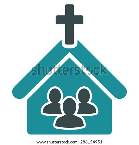 Church icon from Business Bicolor Set. This flat glyph symbol uses soft blue colors, rounded angles, and isolated on a white background. - stock photo