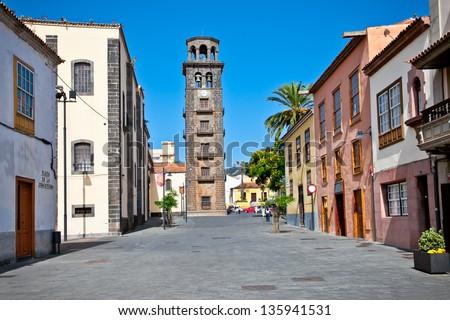 Church Iglesia de Ntra. Senora de La Concepcion on Plaza de la Concepcio in San Cristobal de la Laguna, Tenerife, Canary Islands. Spain. - stock photo