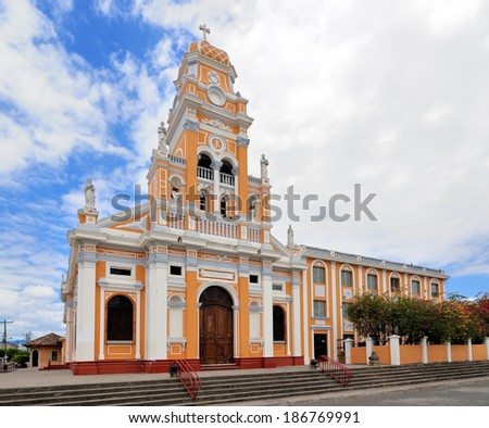Church Iglesia Xalteva in Granada, Nicaragua, is built in 1678 and it was rebuilt in 1856 as a Temple to the Virgin de la Asuncion - stock photo