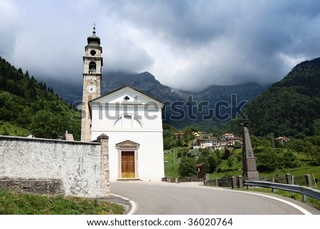 church in aune village Italy