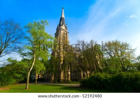 church in Berlin on sunny day - stock photo
