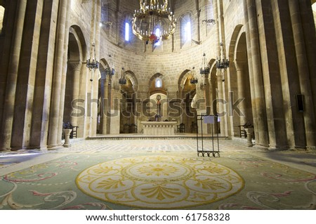 Church in cistercian Veruela Monastery, Saragossa, Aragon, Spain - stock photo