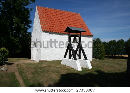 church in denmark in scandinavia. typical christian Evangelical Lutheran place of worship - stock photo