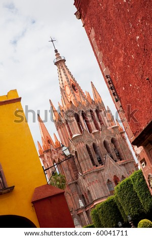 Church in historic town San Miguel de Allende, Guanajuato, Mexico - stock photo