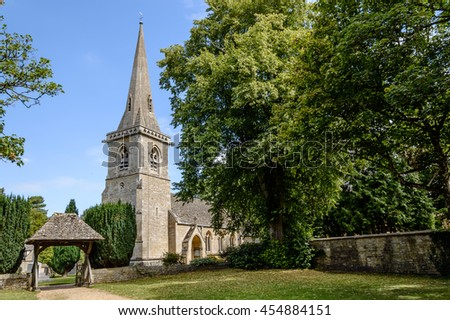 Church in Lower Slaughter, Cotswolds, a blue sky day