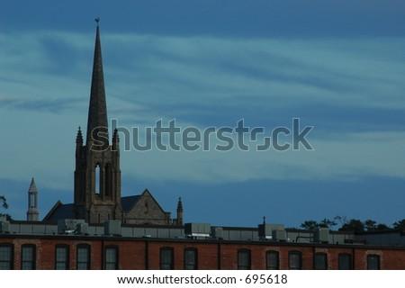 Church in Night Sky - stock photo