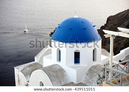 Church in Oia, Santorini, Greece - stock photo