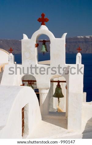 Church in Oia Santorini Greece - stock photo
