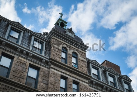 Church in old brownstone building, New York City - stock photo