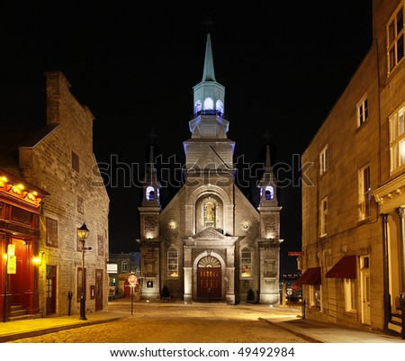 Church in old Montreal, Quebec, Canada - stock photo