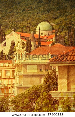 church in Opatija - picture in artistic retro style - stock photo