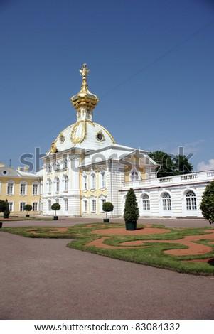 Church in Peterhof, Sain Petersburg, Russia - stock photo