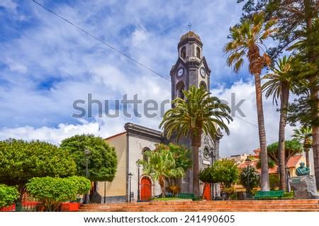 Church in Puerto de la Cruz town, Tenerife island, Spain - stock photo