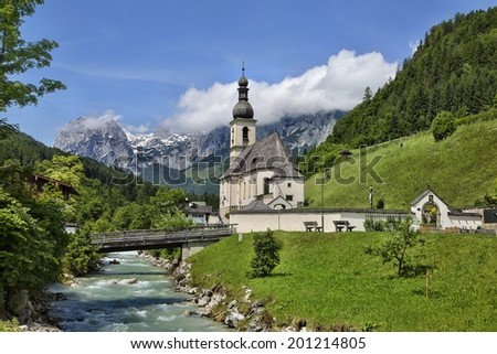 Church in Ramsau, Germany at Berchresgaden
