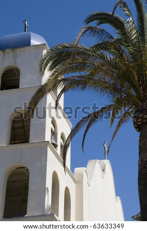 Church in San Diego, California with Blue Sky and Palm Tree.