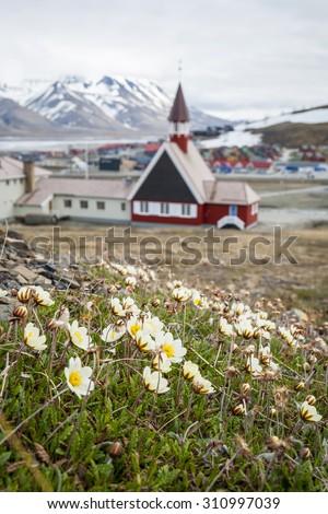 Church in summer in Longyearbyen, Svalbard, Norway - stock photo