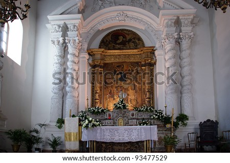 Church in Taormina, small town on the east coast of the island of Sicily, Italy