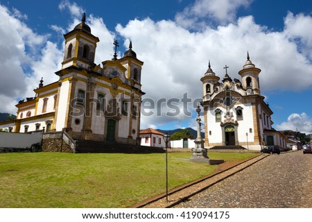 Church in the beautiful old town in colonial style  Mariana and  sky and clouds at background, Brazil - stock photo